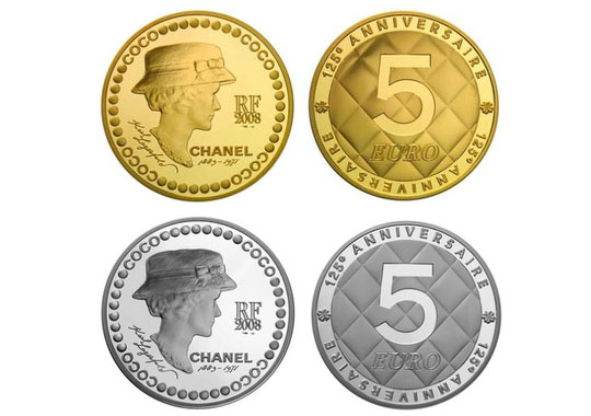 Coolhunts: Coco Chanel 125 years 5 Euro coin by KL