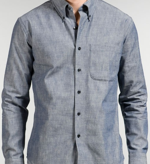 Clothing: Naked & Famous Slim Shirt in Chambray Selvedge