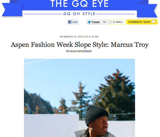 Press: GQ x Marcus Troy - Aspen Fashion Week Slope Style