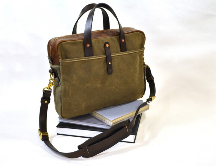 Accessories: Emil Erwin Waxed Canvas Briefcase