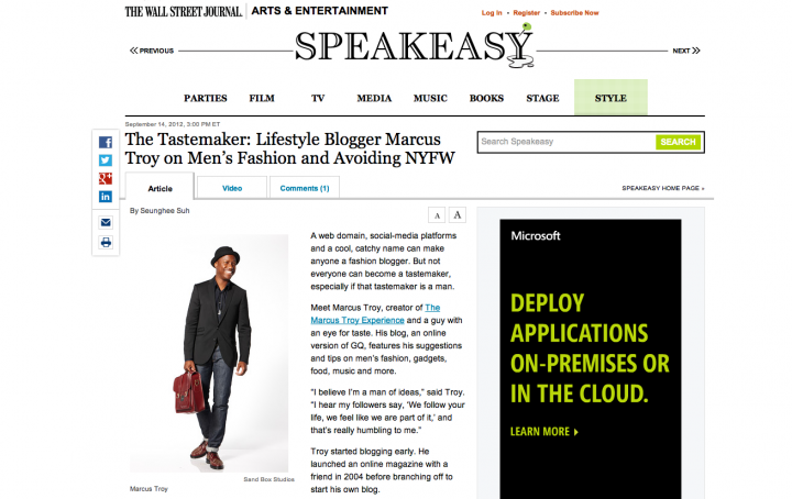 Press: Wall Street Journal Talks With Marcus Troy - Speakeasy