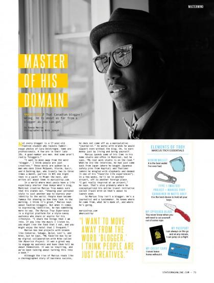 Press: Status Magazine April Issue