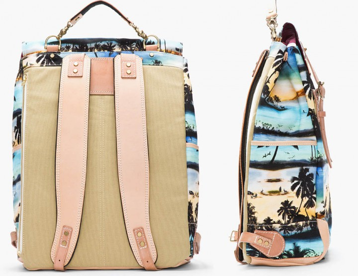 Accessories: Master-Piece Leather Tropical Print Backpack