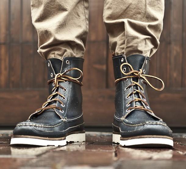 Footwear: Oak Street Bootmakers Navy Hunt Boot @OakStBootmakers