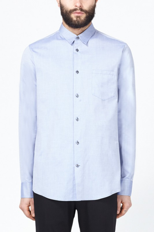 Maison Martin Margiela Blue Fixed Collar Shirt
