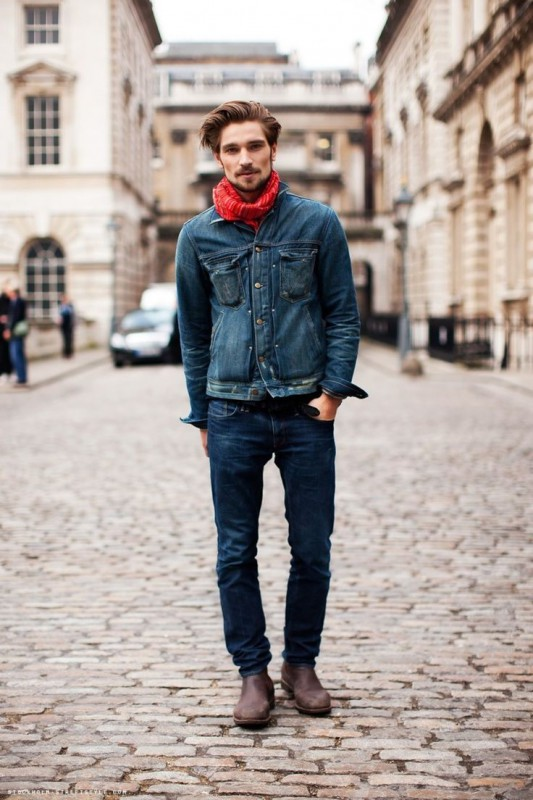 red-scarf-navy-denim-jacket-navy-jeans-dark-brown-chelsea-boots-original-5999