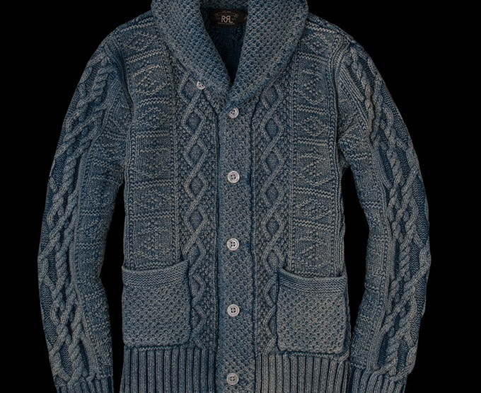 Clothing: RRL Faded Indigo Shawl Collar Cardigan