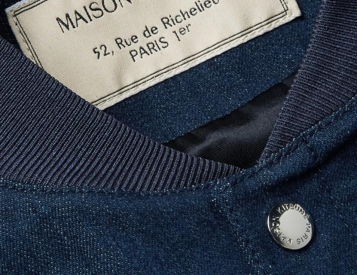 Check Out This Collegiate Inspired Maison Kitsuné Denim Bomber Jacket @kitsune