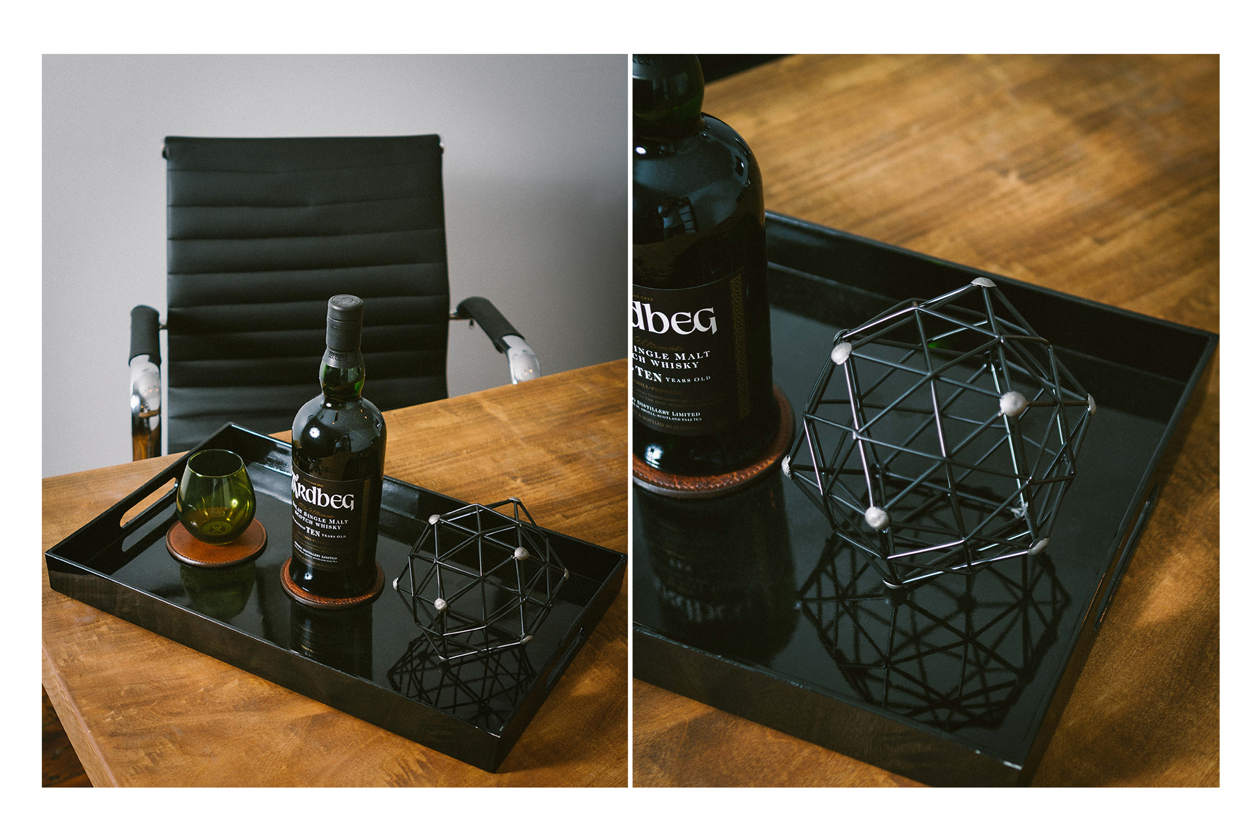 bouclair black tray x geometric ball
